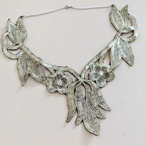 Unique Silver Embroidered Necklace